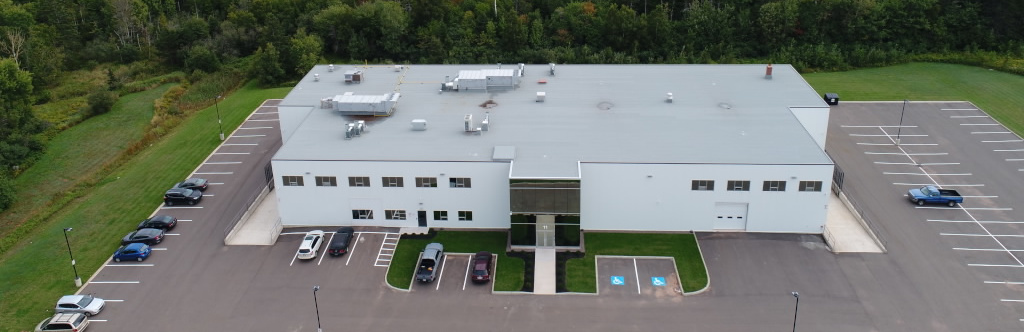 Aerial view of the Dosecann Inc building.