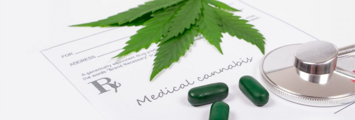 Canntab Therapeutics feature image showing a prescription paper with some medicinal pills, cannabis leaves and a stethoscope on top.